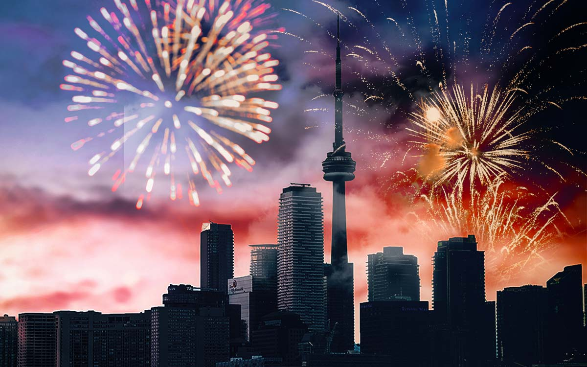 Fireworks on Toronto skyline at New Year